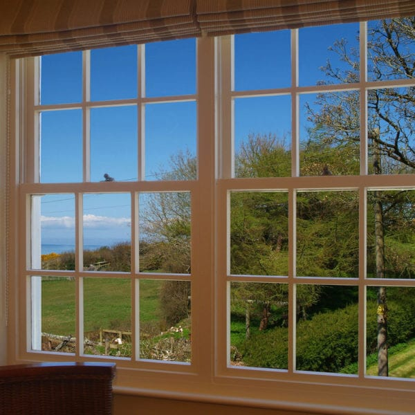 a picture of a window with a view out to the garden with a blue sky