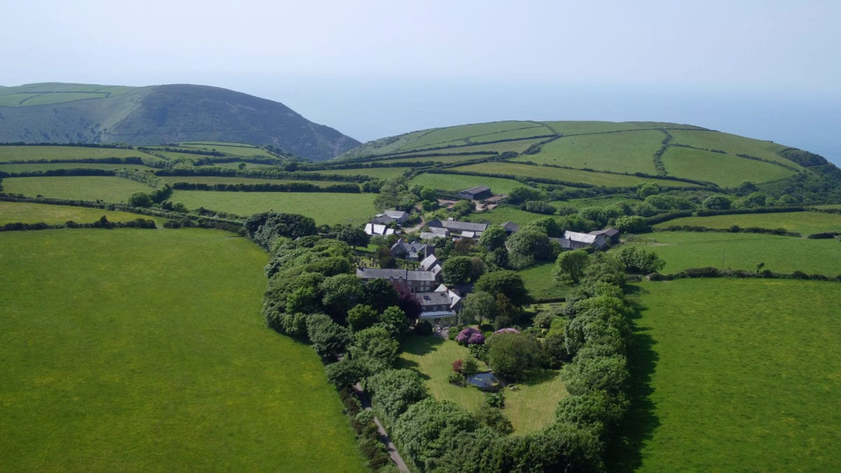 a aerial picture of the cottages, large gardens and surrounding fields